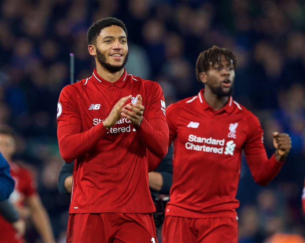 LIVERPOOL, ENGLAND - Sunday, December 2, 2018: Liverpool's Joe Gomez celebrates after a dramatic late injury time winning goal from Divock Origi (R) during the FA Premier League match between Liverpool FC and Everton FC at Anfield, the 232nd Merseyside Derby. Liverpool won 1-0. (Pic by Paul Greenwood/Propaganda)