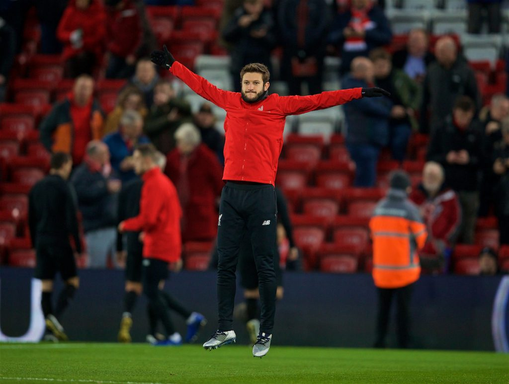LIVERPOOL, ENGLAND - Sunday, December 16, 2018: Liverpool's Adam Lallana during the pre-match warm-up before the FA Premier League match between Liverpool FC and Manchester United FC at Anfield. (Pic by David Rawcliffe/Propaganda)