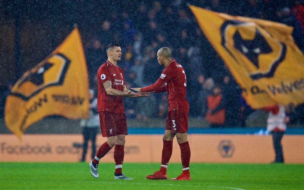 WOLVERHAMPTON, ENGLAND - Friday, December 21, 2018: Liverpool's Dejan Lovren and Fabio Henrique Tavares 'Fabinho' during the FA Premier League match between Wolverhampton Wanderers FC and Liverpool FC at Molineux Stadium. (Pic by David Rawcliffe/Propaganda)
