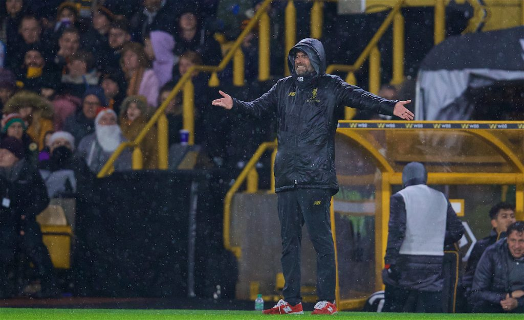 WOLVERHAMPTON, ENGLAND - Friday, December 21, 2018: Liverpool's manager Jürgen Klopp reacts during the FA Premier League match between Wolverhampton Wanderers FC and Liverpool FC at Molineux Stadium. (Pic by David Rawcliffe/Propaganda)