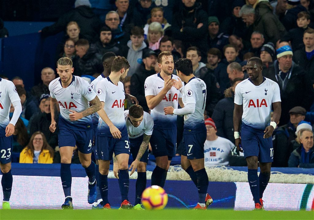 LIVERPOOL, ENGLAND - Sunday, December 23, 2018: Tottenham Hotspur's Harry Kane (C) celebrates scoring the third goal with team-mate Son Heung-min during the FA Premier League match between Everton FC and Tottenham Hotspur FC at Goodison Park. (Pic by David Rawcliffe/Propaganda)