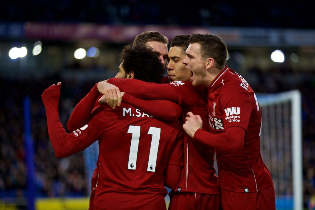 BRIGHTON AND HOVE, ENGLAND - Saturday, January 12, 2019: Liverpool's Mohamed Salah celebrates scoring the winning goal from a penalty kick with team-mates during the FA Premier League match between Brighton & Hove Albion FC and Liverpool FC at the American Express Community Stadium. Liverpool won 1-0. (Pic by David Rawcliffe/Propaganda)