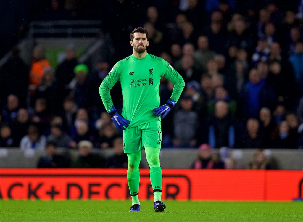 BRIGHTON AND HOVE, ENGLAND - Saturday, January 12, 2019: Liverpool's goalkeeper Alisson Becker during the FA Premier League match between Brighton & Hove Albion FC and Liverpool FC at the American Express Community Stadium. (Pic by David Rawcliffe/Propaganda)