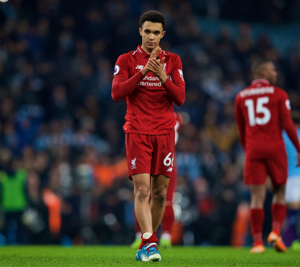 MANCHESTER, ENGLAND - Thursday, January 3, 2019: Liverpool's Trent Alexander-Arnold applauds the supporters after the FA Premier League match between Manchester City FC and Liverpool FC at the Etihad Stadium. Manchester City won 2-1. (Pic by David Rawcliffe/Propaganda)