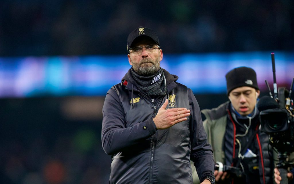 MANCHESTER, ENGLAND - Thursday, January 3, 2019: Liverpool's manager J¸rgen Klopp gestures to the supporters after the FA Premier League match between Manchester City FC and Liverpool FC at the Etihad Stadium. (Pic by David Rawcliffe/Propaganda)