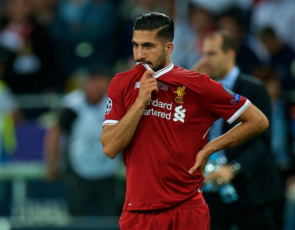KIEV, UKRAINE - Saturday, May 26, 2018: Liverpool's Emre Can looks dejected after the UEFA Champions League Final match between Real Madrid CF and Liverpool FC at the NSC Olimpiyskiy. Real Madrid won 3-1. (Pic by Peter Powell/Propaganda)