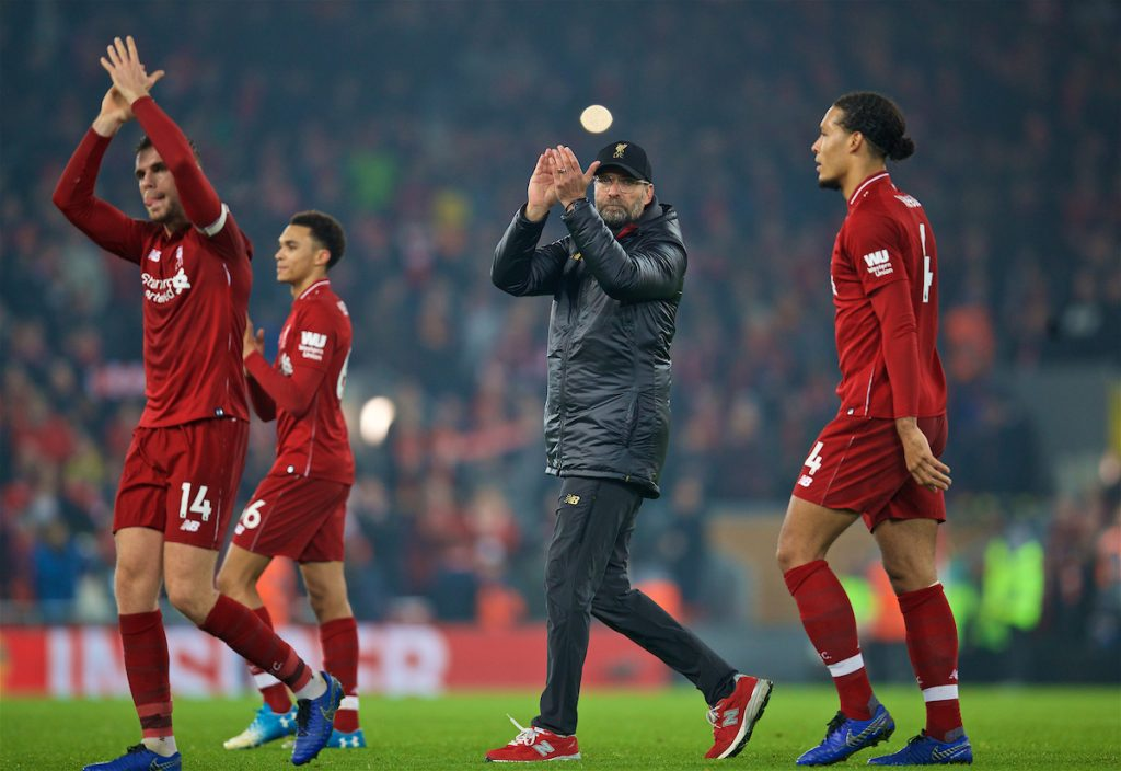 LIVERPOOL, ENGLAND - Boxing Day, Wednesday, December 26, 2018: Liverpool's manager Jürgen Klopp celebrates after beating Newcastle United 4-0 during the FA Premier League match between Liverpool FC and Newcastle United FC at Anfield. (Pic by David Rawcliffe/Propaganda)