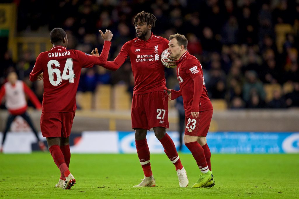 WOLVERHAMPTON, ENGLAND - Monday, January 7, 2019: Liverpool's Divock Origi (C) celebrates scoring the first goal with team-mates Rafael Camacho (L) and Sheridan Shaqiri (R) during the FA Cup 3rd Round match between Wolverhampton Wanderers FC and Liverpool FC at Molineux Stadium. (Pic by David Rawcliffe/Propaganda)