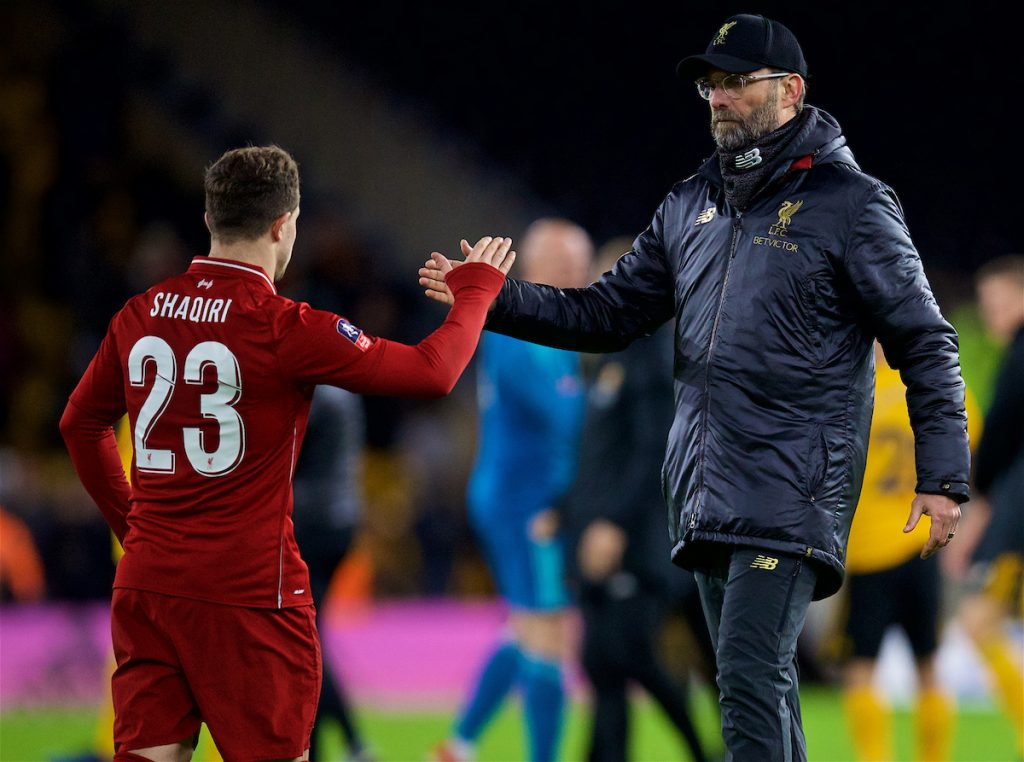 WOLVERHAMPTON, ENGLAND - Monday, January 7, 2019: Liverpool's manager Jürgen Klopp shake hands with Xherdan Shaqiri after the FA Cup 3rd Round match between Wolverhampton Wanderers FC and Liverpool FC at Molineux Stadium. Wolverhampton Wanderers won 2-1. (Pic by David Rawcliffe/Propaganda)