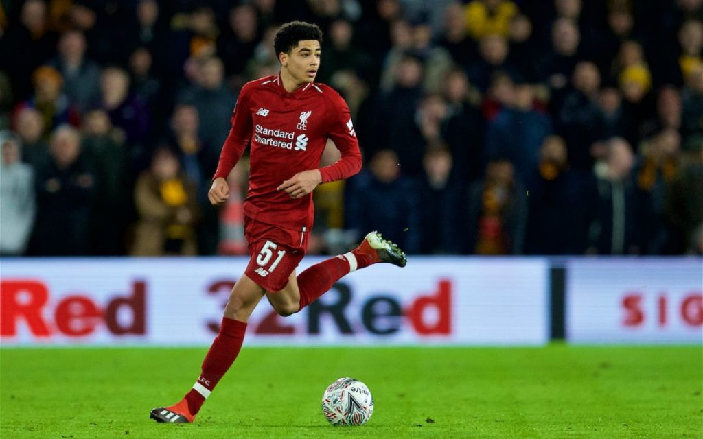 WOLVERHAMPTON, ENGLAND - Monday, January 7, 2019: Liverpool's Ki-Jana Hoever during the FA Cup 3rd Round match between Wolverhampton Wanderers FC and Liverpool FC at Molineux Stadium. (Pic by David Rawcliffe/Propaganda)