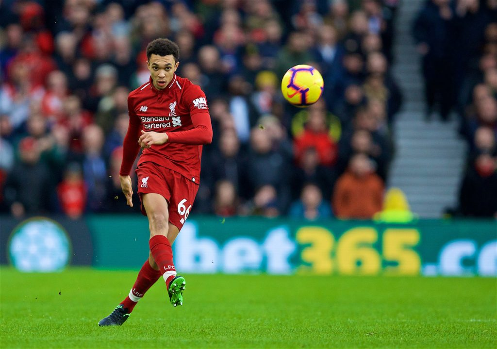 BRIGHTON AND HOVE, ENGLAND - Saturday, January 12, 2019: Liverpool's Trent Alexander-Arnold during the FA Premier League match between Brighton & Hove Albion FC and Liverpool FC at the American Express Community Stadium. (Pic by David Rawcliffe/Propaganda)