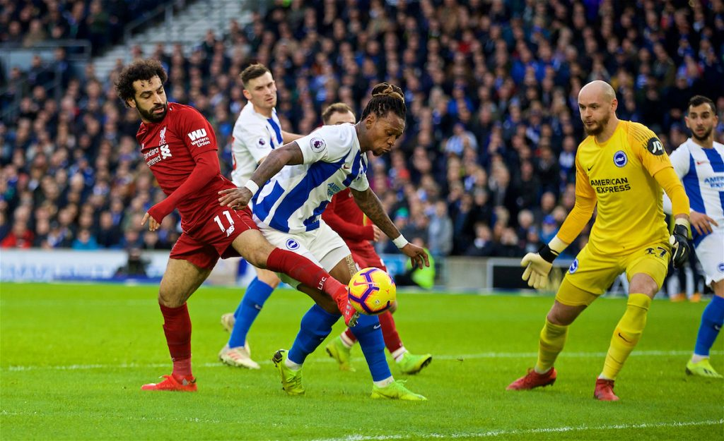 BRIGHTON AND HOVE, ENGLAND - Saturday, January 12, 2019: Liverpool's Mohamed Salah (L) and Gaëtan Bong during the FA Premier League match between Brighton & Hove Albion FC and Liverpool FC at the American Express Community Stadium. (Pic by David Rawcliffe/Propaganda)