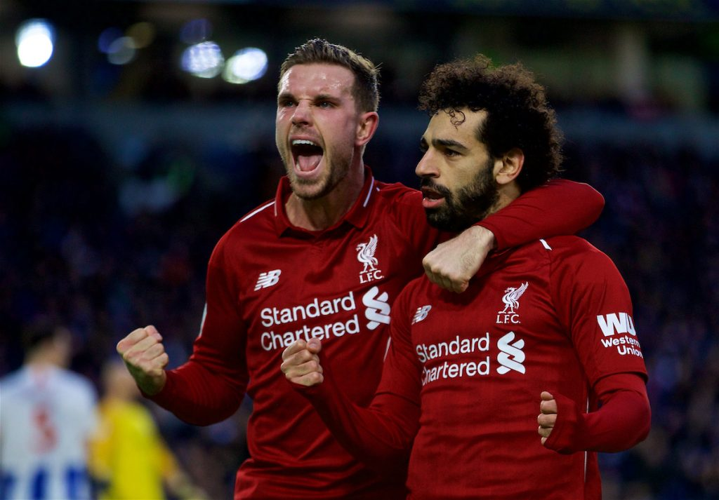 BRIGHTON AND HOVE, ENGLAND - Saturday, January 12, 2019: Liverpool's Mohamed Salah (R) celebrates scoring the first goal from a penalty kick with team-mate captain Jordan Henderson (L) during the FA Premier League match between Brighton & Hove Albion FC and Liverpool FC at the American Express Community Stadium. (Pic by David Rawcliffe/Propaganda)