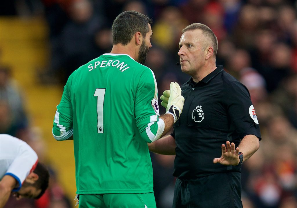 LIVERPOOL, ENGLAND - Saturday, January 19, 2019: Crystal Palace's goalkeeper Julián Speroni is spoken by referee Jonathan Moss for wasting time during the FA Premier League match between Liverpool FC and Crystal Palace FC at Anfield. (Pic by David Rawcliffe/Propaganda)