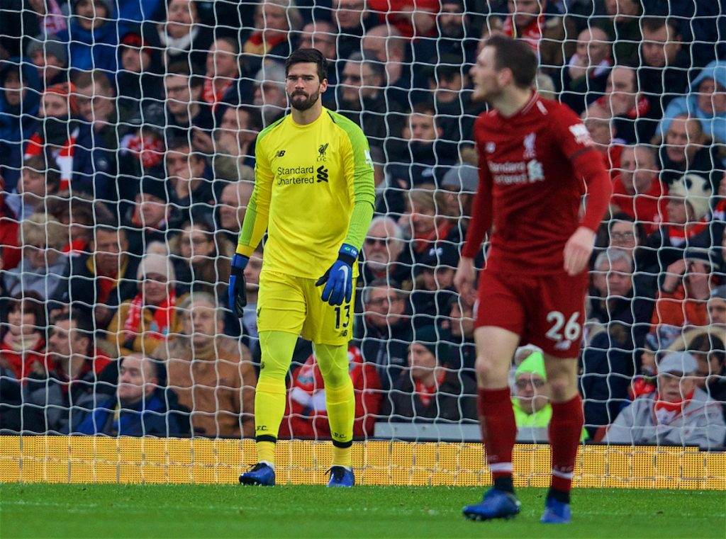 LIVERPOOL, ENGLAND - Saturday, January 19, 2019: Liverpool's goalkeeper Alisson Becker looks dejected as Crystal Palace score the opening goal during the FA Premier League match between Liverpool FC and Crystal Palace FC at Anfield. (Pic by David Rawcliffe/Propaganda)