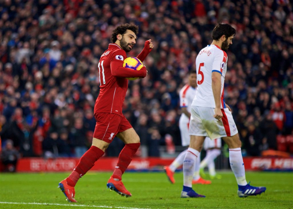 LIVERPOOL, ENGLAND - Saturday, January 19, 2019: Liverpool's Mohamed Salah celebrates scoring the first goal during the FA Premier League match between Liverpool FC and Crystal Palace FC at Anfield. (Pic by David Rawcliffe/Propaganda)