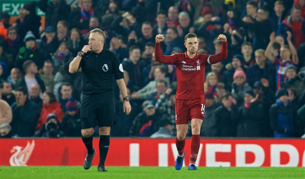 LIVERPOOL, ENGLAND - Saturday, January 19, 2019: Liverpool's captain Jordan Henderson celebrates as referee Jonathan Moss blows the final whilst to seal a 4-3 victory for Liverpool during the FA Premier League match between Liverpool FC and Crystal Palace FC at Anfield. (Pic by David Rawcliffe/Propaganda)