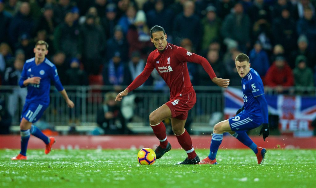 LIVERPOOL, ENGLAND - Wednesday, January 30, 2019: Liverpool's Virgil van Dijk during the FA Premier League match between Liverpool FC and Leicester City FC at Anfield. (Pic by David Rawcliffe/Propaganda)