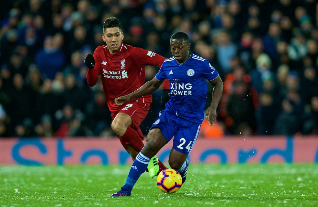LIVERPOOL, ENGLAND - Wednesday, January 30, 2019: Liverpool's Roberto Firmino (L) and Leicester City's Nampalys Mendy during the FA Premier League match between Liverpool FC and Leicester City FC at Anfield. (Pic by David Rawcliffe/Propaganda)