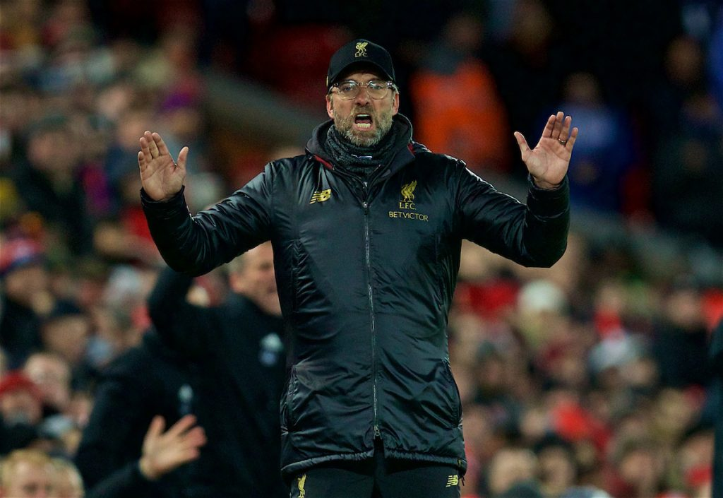 LIVERPOOL, ENGLAND - Wednesday, January 30, 2019: Liverpool's manager Jürgen Klopp reacts as Leicester City scored the first equalising goal during the FA Premier League match between Liverpool FC and Leicester City FC at Anfield. (Pic by David Rawcliffe/Propaganda)