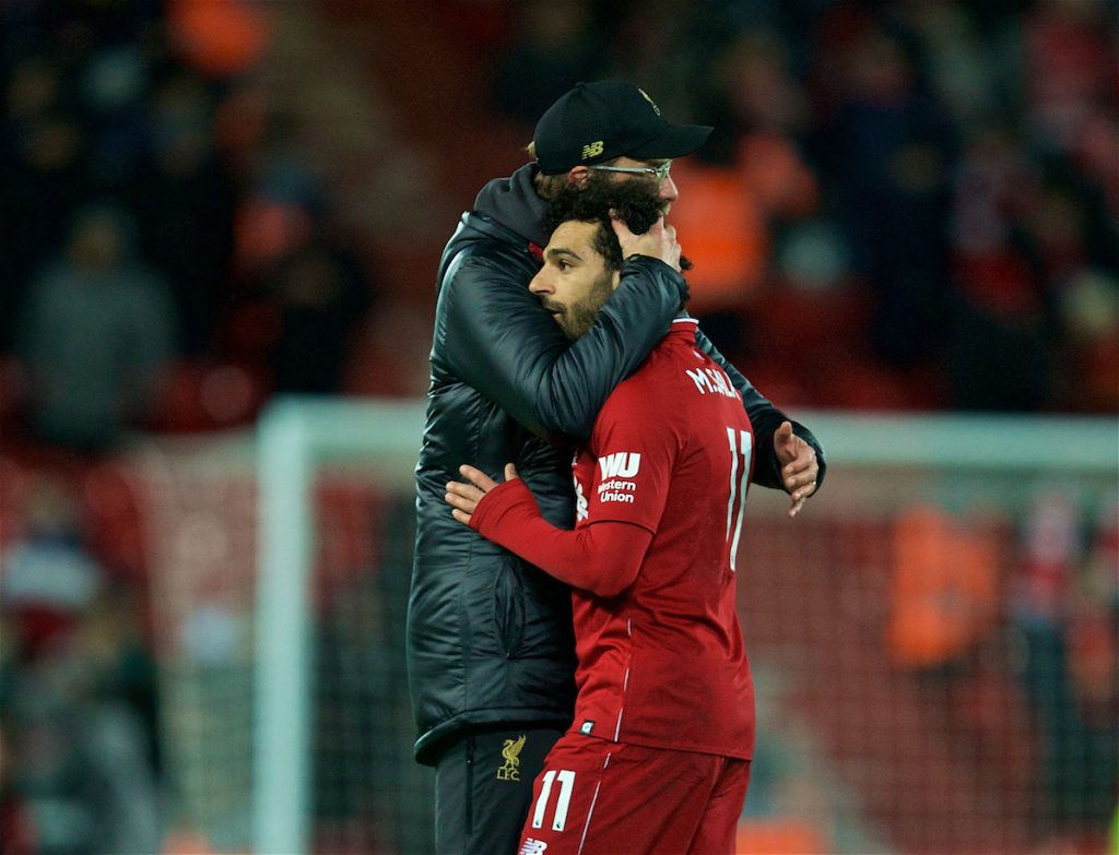 LIVERPOOL, ENGLAND - Wednesday, January 30, 2019: Liverpool's Mohamed Salah is embraced by manager Jürgen Klopp after during the FA Premier League match between Liverpool FC and Leicester City FC at Anfield. The game ended in a 1-1 draw. (Pic by David Rawcliffe/Propaganda)