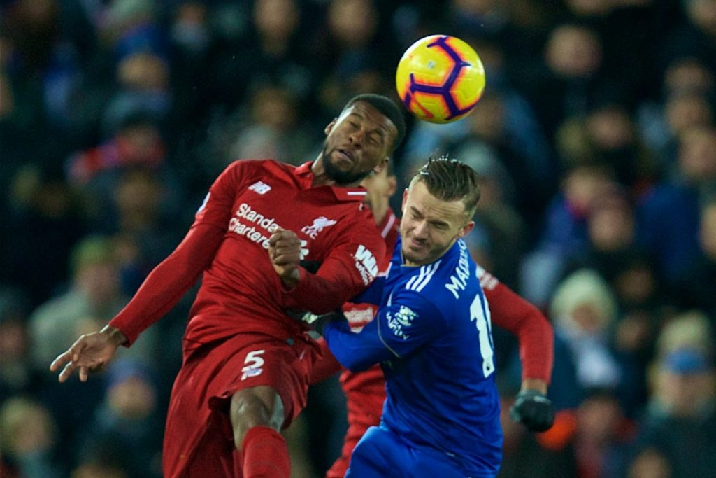 LIVERPOOL, ENGLAND - Wednesday, January 30, 2019: Liverpool's Georginio Wijnaldum and Leicester City's James Maddison during the FA Premier League match between Liverpool FC and Leicester City FC at Anfield. (Pic by David Rawcliffe/Propaganda)