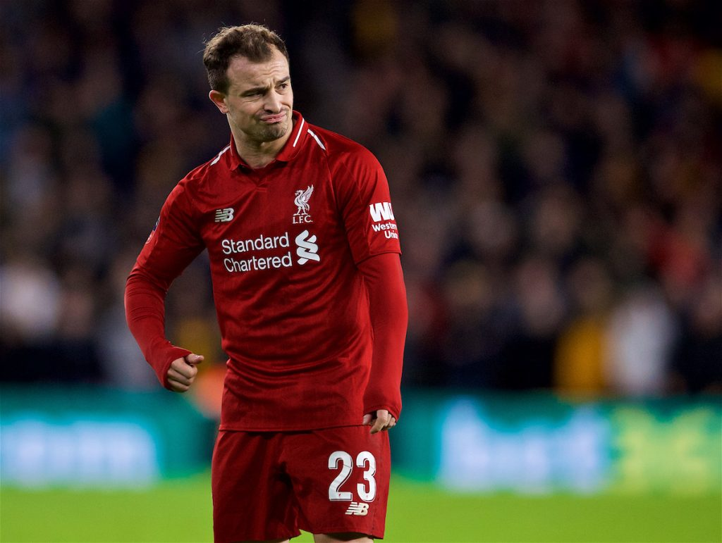 WOLVERHAMPTON, ENGLAND - Monday, January 7, 2019: Liverpool's Sheridan Shaqiri looks dejected after his free-kick is saved during the FA Cup 3rd Round match between Wolverhampton Wanderers FC and Liverpool FC at Molineux Stadium. (Pic by David Rawcliffe/Propaganda)