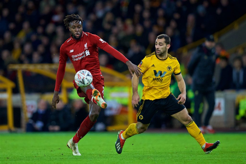 WOLVERHAMPTON, ENGLAND - Monday, January 7, 2019: Liverpool's Divock Origi during the FA Cup 3rd Round match between Wolverhampton Wanderers FC and Liverpool FC at Molineux Stadium. (Pic by David Rawcliffe/Propaganda)