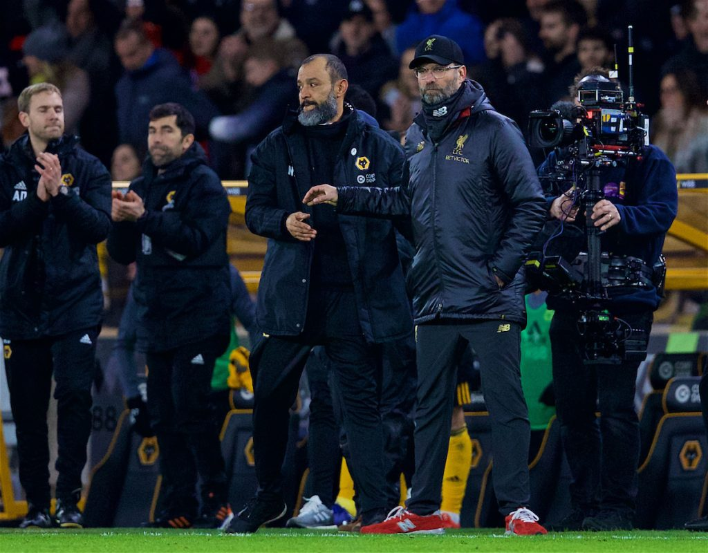 WOLVERHAMPTON, ENGLAND - Monday, January 7, 2019: Liverpool's manager Jürgen Klopp (R) and Wolverhampton Wanderers' head coach Nuno Espírito Santo after the FA Cup 3rd Round match between Wolverhampton Wanderers FC and Liverpool FC at Molineux Stadium. Wolverhampton Wanderers won 2-1. (Pic by David Rawcliffe/Propaganda)