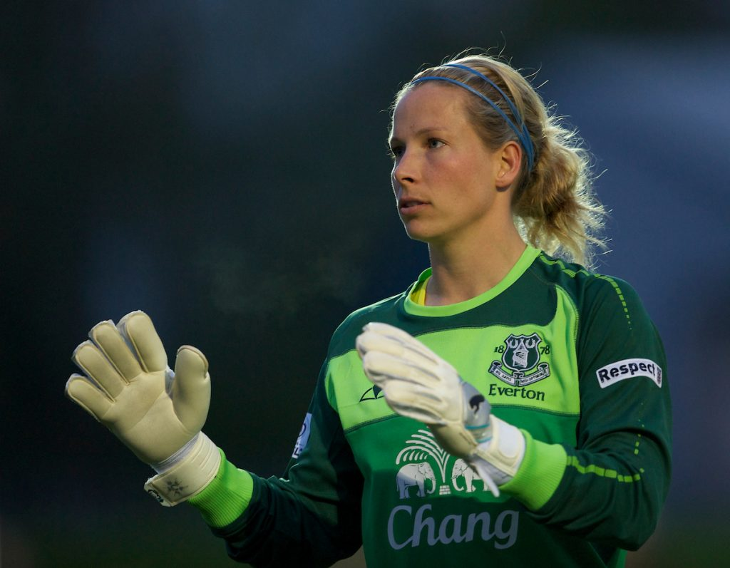 SKELMERSDALE, ENGLAND - Thursday, April 14, 2011: Everton's goalkeeper Rachel Brown in action against Liverpool during the opening FA Women's Super League match at Stoney Corner. (Photo by David Rawcliffe/Propaganda)