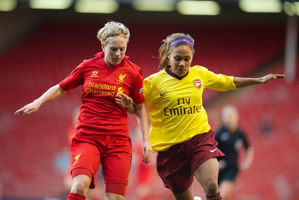 LIVERPOOL, ENGLAND - Friday, April 26, 2013: Liverpool's Natasha Dowie in action against Arsenal's Alex Scott during the FA Women's Cup Semi-Final match at Anfield. (Pic by David Rawcliffe/Propaganda)