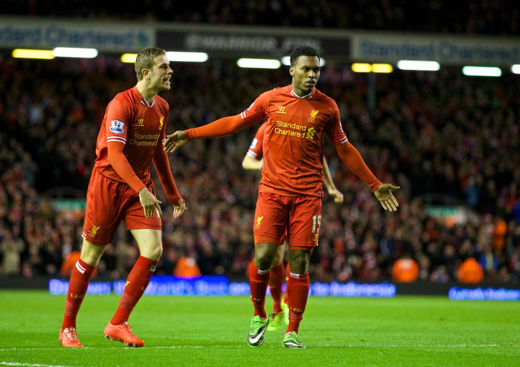 LIVERPOOL, ENGLAND - Wednesday, March 26, 2014: Liverpool's Daniel Sturridge celebrates scoring the second goal against Sunderland with team-mate Jordan Henderson during the Premiership match at Anfield. (Pic by David Rawcliffe/Propaganda)