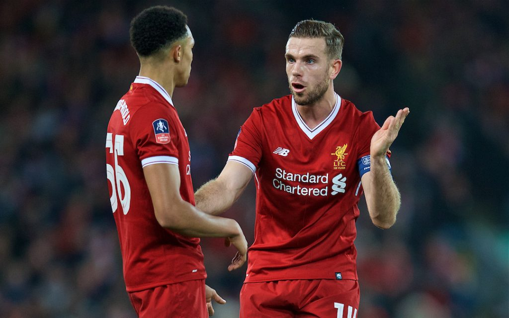 LIVERPOOL, ENGLAND - Sunday, January 14, 2018: Liverpool's captain Jordan Henderson and Trent Alexander-Arnold during the FA Premier League match between Liverpool and Manchester City at Anfield. (Pic by David Rawcliffe/Propaganda)