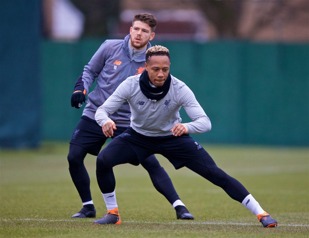 LIVERPOOL, ENGLAND - Monday, March 5, 2018: Liverpool's Alberto Moreno and Nathaniel Clyne during a training session at Melwood ahead of the UEFA Champions League Round of 16 2nd leg match between Liverpool FC and FC Porto. (Pic by Paul Greenwood/Propaganda)