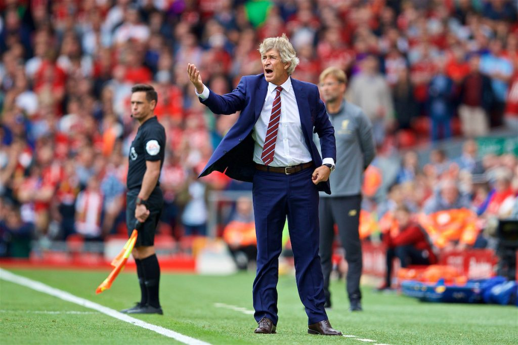 LIVERPOOL, ENGLAND - Sunday, August 12, 2018: West Ham United's manager Manuel Pellegrini during the FA Premier League match between Liverpool FC and West Ham United FC at Anfield. (Pic by David Rawcliffe/Propaganda)