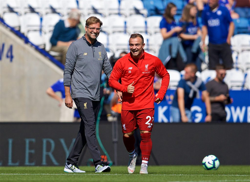 LEICESTER, ENGLAND - Saturday, September 1, 2018: Liverpool's Xherdan Shaqiri and manager Jürgen Klopp before the FA Premier League match between Leicester City and Liverpool at the King Power Stadium. (Pic by David Rawcliffe/Propaganda)