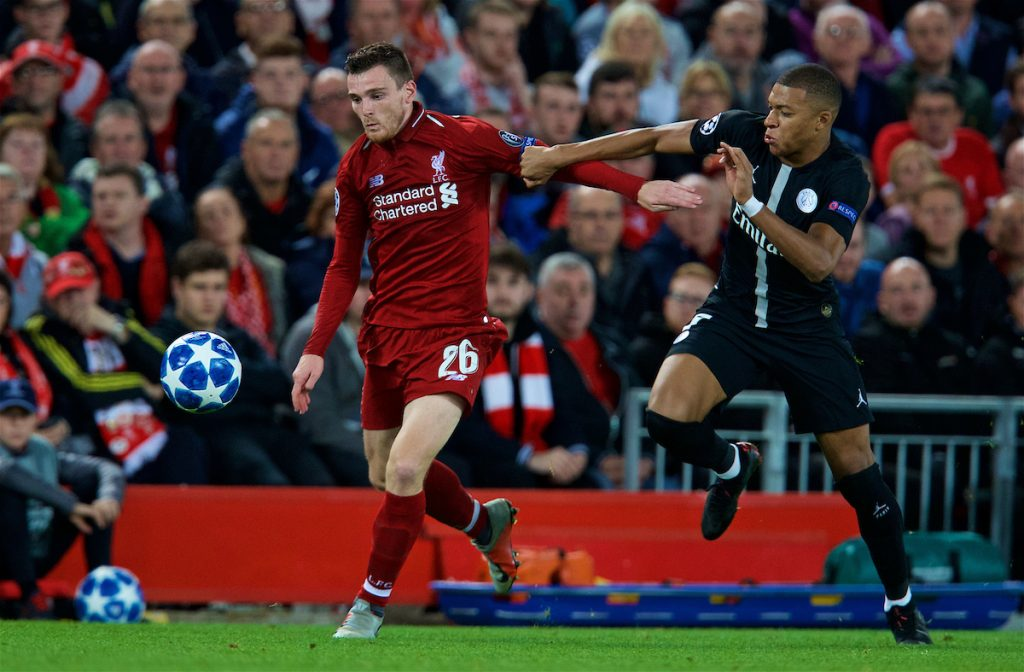 LIVERPOOL, ENGLAND - Tuesday, September 18, 2018: Liverpool's Andy Robertson (L) and Paris Saint-Germain's Kylian Mbappé (R) during the UEFA Champions League Group C match between Liverpool FC and Paris Saint-Germain at Anfield. (Pic by David Rawcliffe/Propaganda)