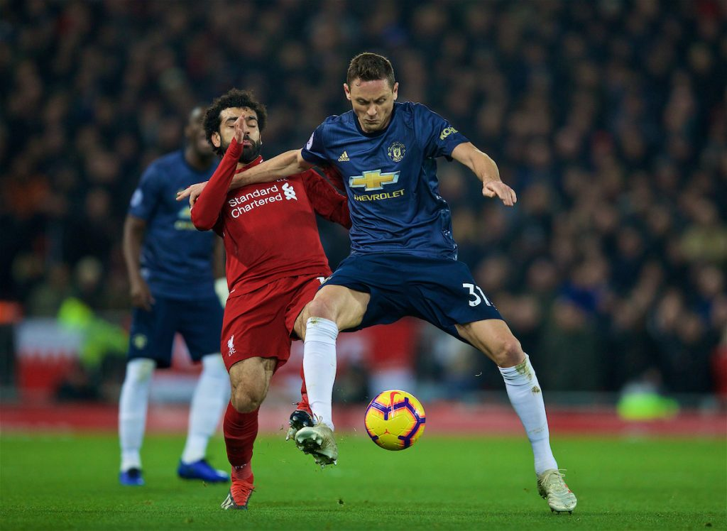 LIVERPOOL, ENGLAND - Sunday, December 16, 2018: Liverpool's Mohamed Salah (L) and Manchester United's Nemanja Mati? during the FA Premier League match between Liverpool FC and Manchester United FC at Anfield. (Pic by David Rawcliffe/Propaganda)