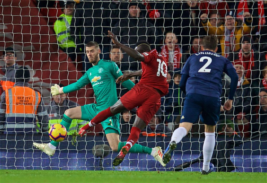 LIVERPOOL, ENGLAND - Sunday, December 16, 2018: Liverpool's Sadio Mane scores the first goal past Manchester United's goalkeeper David de Gea during the FA Premier League match between Liverpool FC and Manchester United FC at Anfield. Liverpool won 3-1. (Pic by David Rawcliffe/Propaganda)