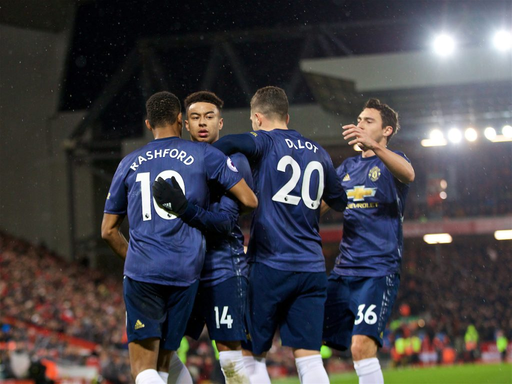 LIVERPOOL, ENGLAND - Sunday, December 16, 2018: Manchester United's Jesse Lingard celebrates scoring the first equalising goal to level the score 1-1 during the FA Premier League match between Liverpool FC and Manchester United FC at Anfield. (Pic by David Rawcliffe/Propaganda)