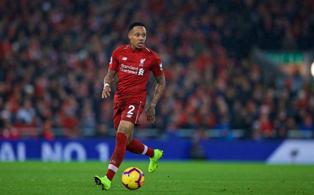 LIVERPOOL, ENGLAND - Sunday, December 16, 2018: Liverpool's Nathaniel Clyne during the FA Premier League match between Liverpool FC and Manchester United FC at Anfield. (Pic by David Rawcliffe/Propaganda)