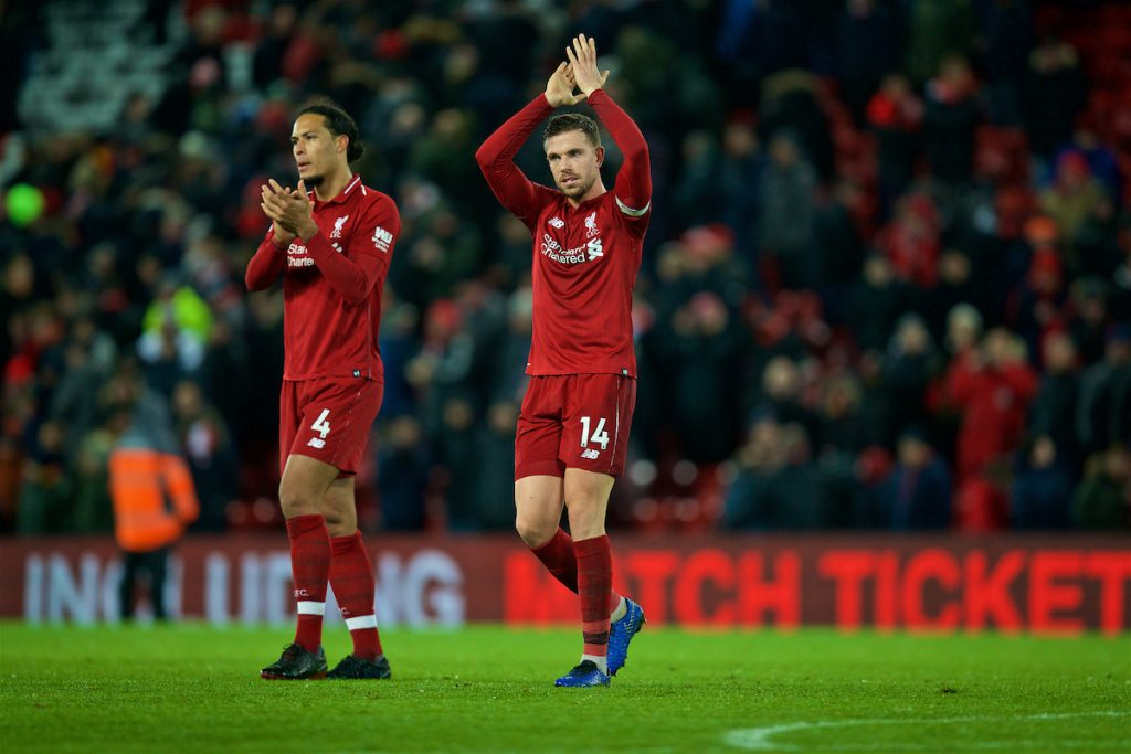 LIVERPOOL, ENGLAND - Wednesday, January 30, 2019: Liverpool's captain Jordan Henderson (R) and Virgil van Dijk after the 1-1 draw during the FA Premier League match between Liverpool FC and Leicester City FC at Anfield. (Pic by David Rawcliffe/Propaganda)
