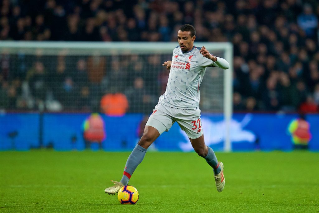 LONDON, ENGLAND - Monday, February 4, 2019: Liverpool's Joel Matip during the FA Premier League match between West Ham United FC and Liverpool FC at the London Stadium. (Pic by David Rawcliffe/Propaganda)