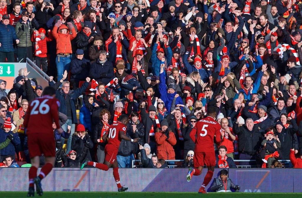 LIVERPOOL, ENGLAND - Saturday, February 9, 2019: Liverpool's Sadio Mane celebrates with supporters after scoring the first goal during the FA Premier League match between Liverpool FC and AFC Bournemouth at Anfield. (Pic by David Rawcliffe/Propaganda)