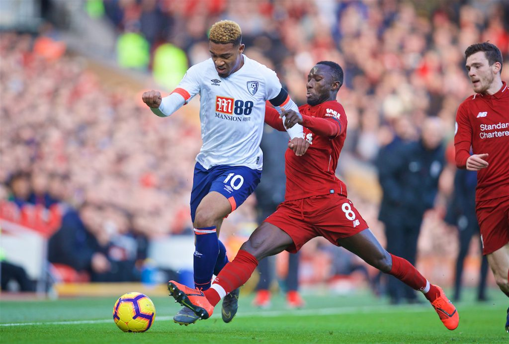LIVERPOOL, ENGLAND - Saturday, February 9, 2019: AFC Bournemouth's Jordon Ibe (L) is tackled by Liverpool's Naby Keita during the FA Premier League match between Liverpool FC and AFC Bournemouth at Anfield. (Pic by David Rawcliffe/Propaganda)