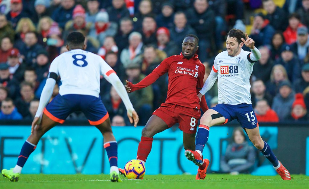 LIVERPOOL, ENGLAND - Saturday, February 9, 2019: Liverpool's Naby Keita is tackled by AFC Bournemouth's Adam Smith during the FA Premier League match between Liverpool FC and AFC Bournemouth at Anfield. (Pic by David Rawcliffe/Propaganda)