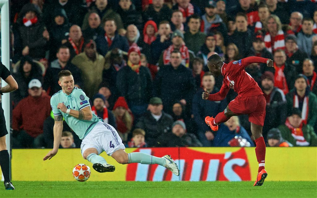 LIVERPOOL, ENGLAND - Tuesday, February 19, 2019: Liverpool's Naby Keita sees his shot blocked by FC Bayern Munich's Niklas Süle during the UEFA Champions League Round of 16 1st Leg match between Liverpool FC and FC Bayern München at Anfield. (Pic by David Rawcliffe/Propaganda)
