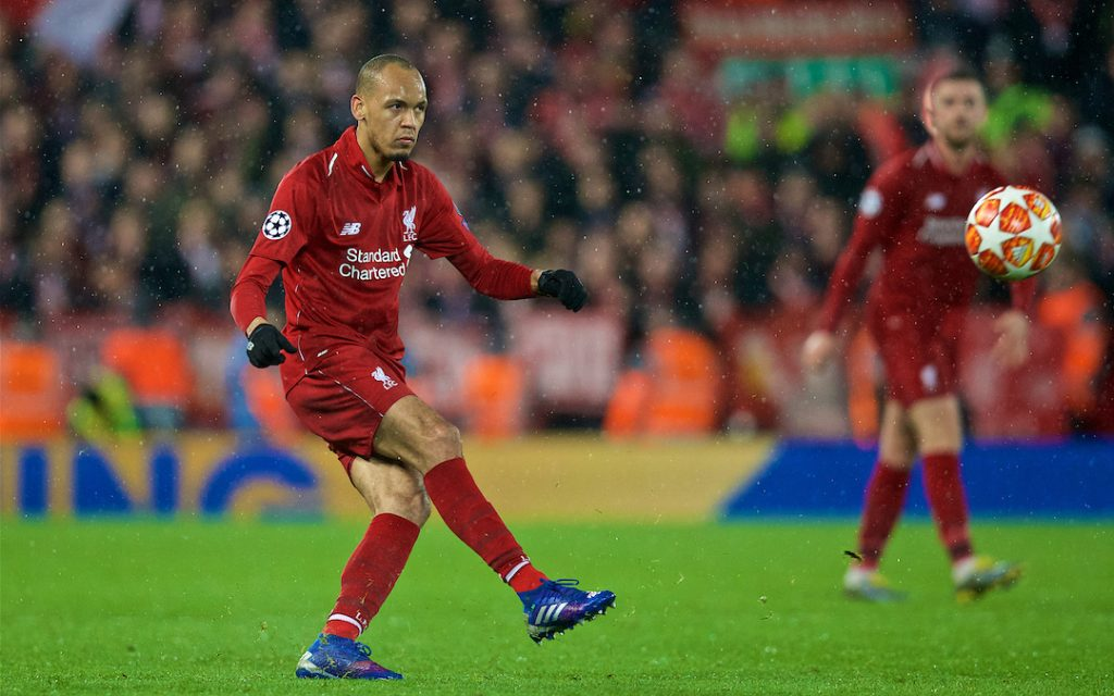 LIVERPOOL, ENGLAND - Tuesday, February 19, 2019: Liverpool's Fabio Henrique Tavares 'Fabinho' during the UEFA Champions League Round of 16 1st Leg match between Liverpool FC and FC Bayern M¸nchen at Anfield. (Pic by David Rawcliffe/Propaganda)