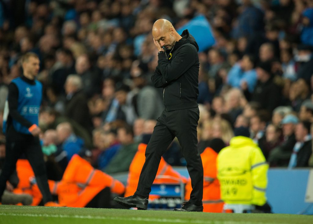 MANCHESTER, ENGLAND - Tuesday, April 10, 2018: Pep Guardiola manager of Manchester City reacts during the UEFA Champions League Quarter-Final 2nd Leg match between Manchester City FC and Liverpool FC at the City of Manchester Stadium. (Pic by Peter Powell/Propaganda)