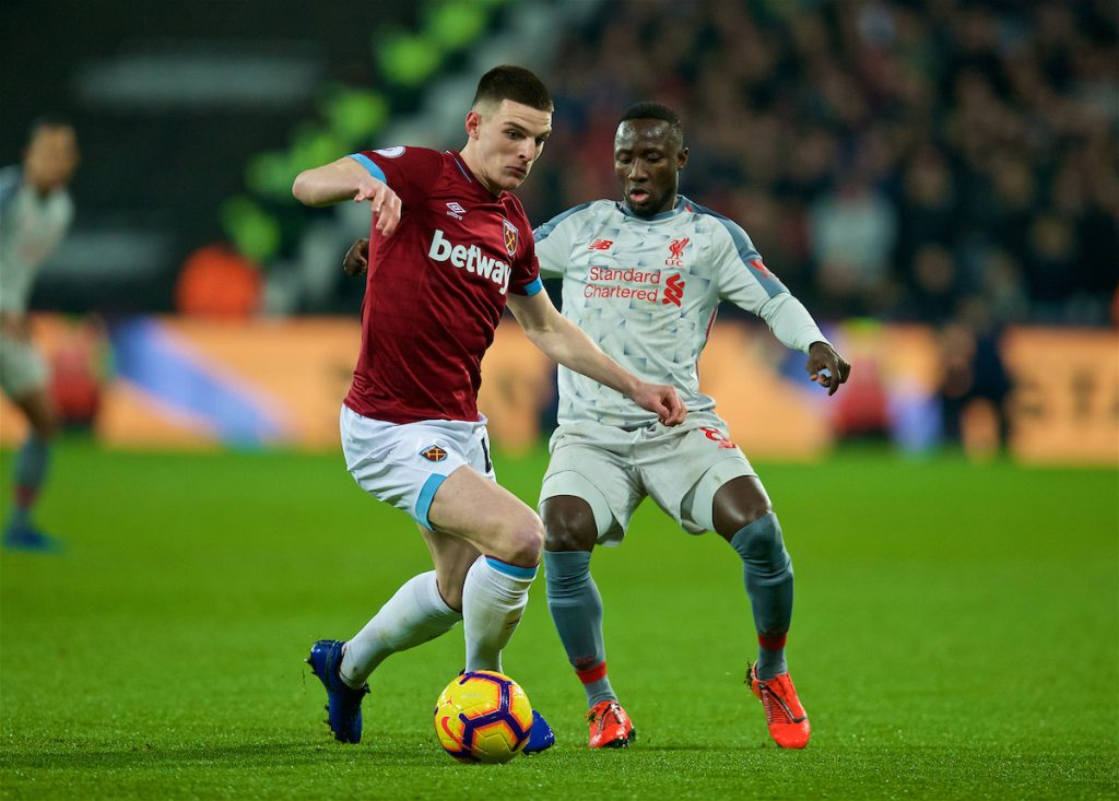 LONDON, ENGLAND - Monday, February 4, 2019: West Ham United's Declan Rice (L) and Liverpool's Naby Keita (R) during the FA Premier League match between West Ham United FC and Liverpool FC at the London Stadium. (Pic by David Rawcliffe/Propaganda)